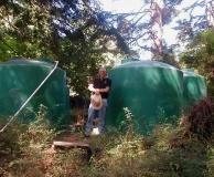Rain catchment storage tanks. San Juan Is. WA.