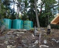 Rain catchment tank farm. Mayne Is. BC.