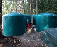 04 - Rain water catchment tank farm in-out piping. Mayne Is. BC.