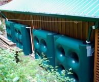 SlimLine tanks for rain water catchment tanks in narrow spaces. Sechelt, BC.