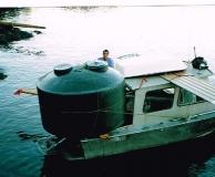 Water transportation of rain water catchment tank.  Lasqueti Is. BC.